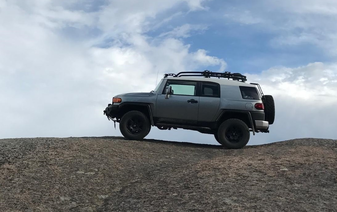 Hunter Herman's truck, Barb, poses on Hoontar Rock, Colorado.