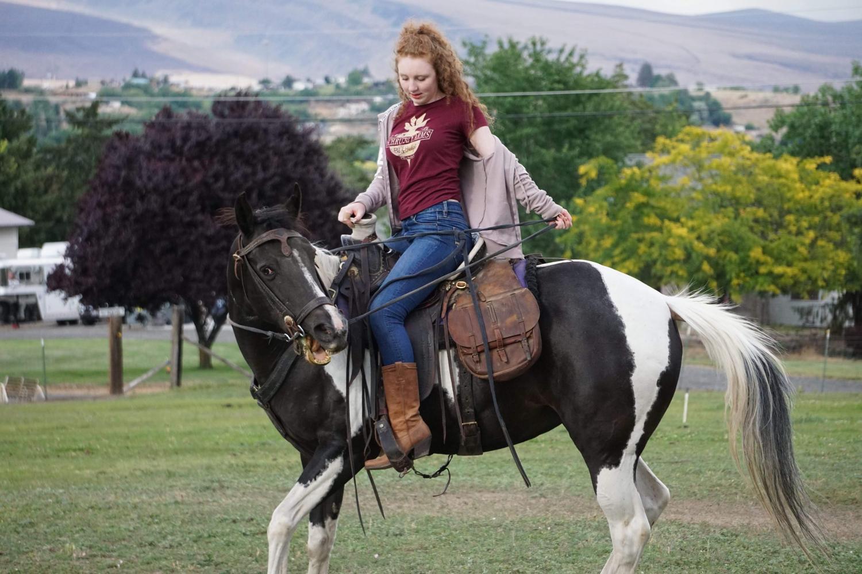Sophia Davis riding a horse at her cousin's farm in Washington.