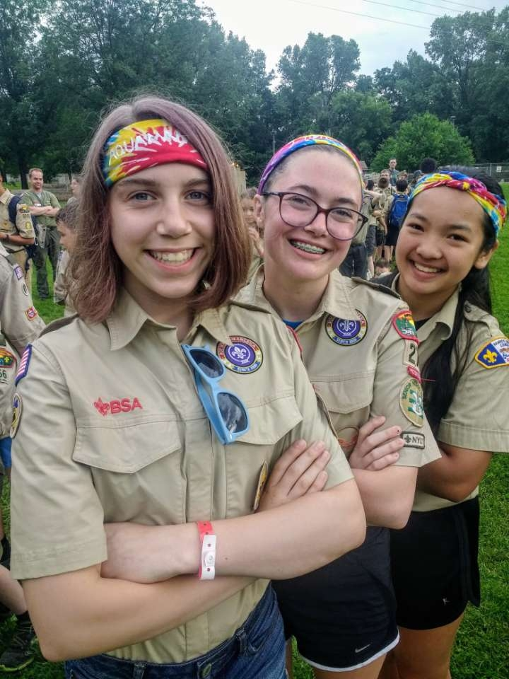 Kevy (right) and two other Scouts pose for a picture at Camp Wakonda.
