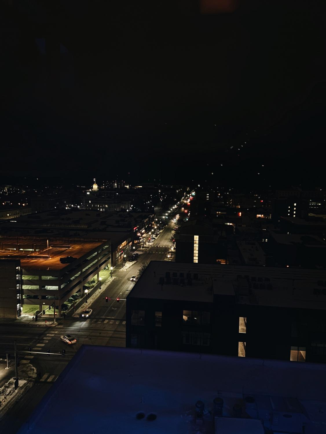 From+the+Vue+Rooftop%2C+cars+can+be+spotted+among+the+bright+lights+of+downtown+Iowa+City.+%28fast+shutter+speed%29