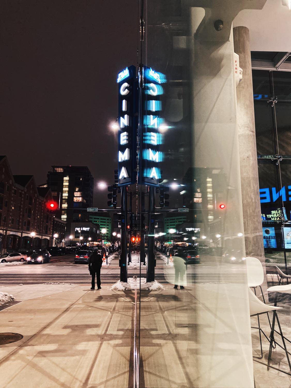 Film+Scene%E2%80%99s+new+neon+sign+illuminates+the+corner+of+College+and+Gilbert+streets.+%28light%29