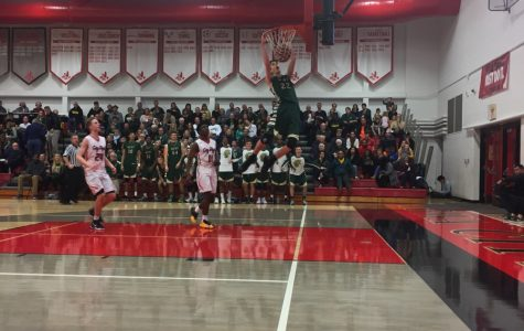 Patrick McCaffery 19' had an amazing dunk at the West v. City double header tonight, Tuesday January, 24th. He and his teammates fought hard to beat the City Hawks.