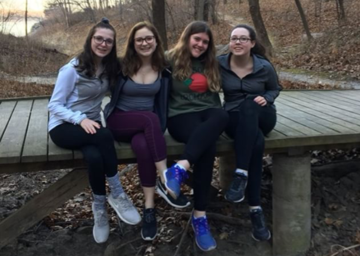 Sarah Callanan '21, second from the right, takes a photo with her best friends.